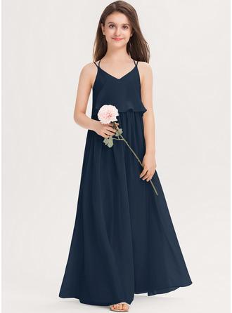 Áčkové Šaty V-Výstřihem Délka na zem Šifón Šaty pro mladé družičky