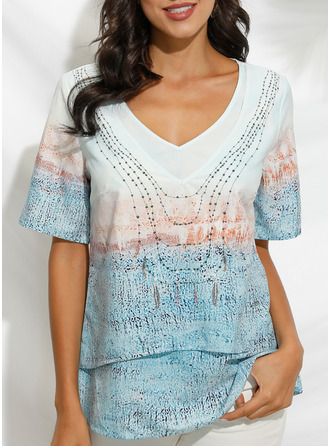 Print V-Neck Short Sleeves Casual