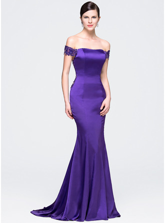 Trumpet/Mermaid Off-the-Shoulder Court Train Satin Lace Evening Dress With Beading Sequins