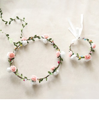 Precioso sola flor Redondo Tela Conjuntos de flores - Ramillete de muñeca/Tocado de Flores