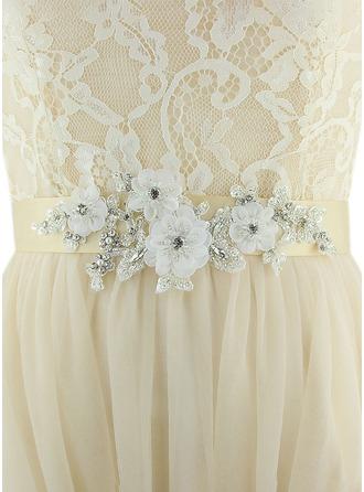 Moda Satén Fajas con Flor/Diamantes de imitación/La perla de faux
