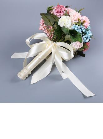 Atado a mano Satén Ramos de novia/Ramos de la dama de honor (vendido en una sola pieza) -