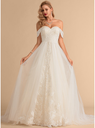 Ball-Gown/Princess Off-the-Shoulder Chapel Train Tulle Lace Wedding Dress With Sequins