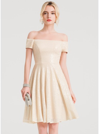 A-Line/Princess Off-the-Shoulder Knee-Length Sequined Cocktail Dress