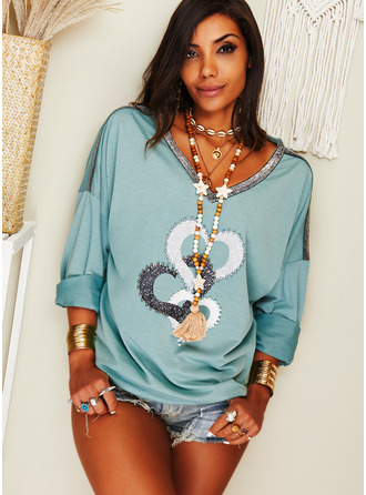 Beaded Print Heart V-Neck Long Sleeves Casual T-shirt