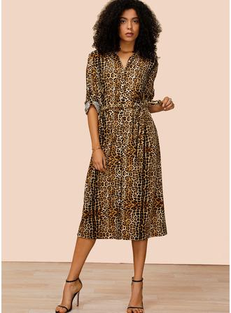 Leopardo Vestido linha-A Manga Comprida Midi Casual Vestidos-camisas Vestidos na Moda