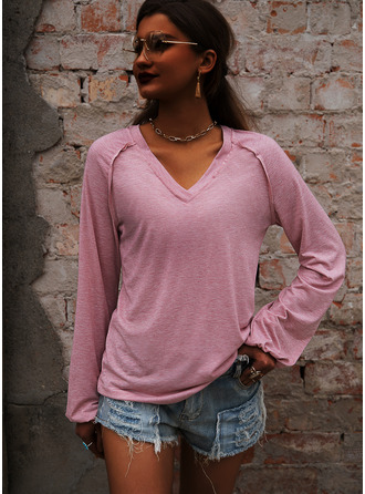 Solid V-Neck Long Sleeves Basic Casual T-shirt