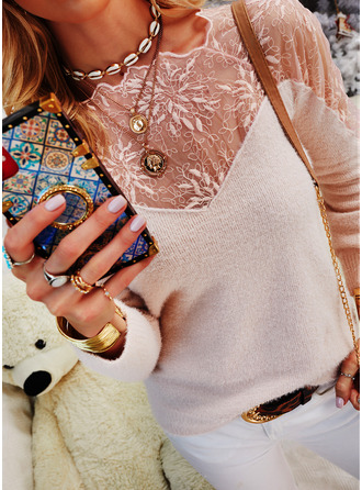Round Neck Casual Beaded Lace Solid Sweaters