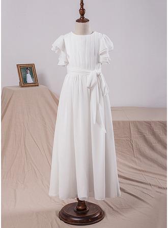 Forme Princesse Longueur ras du sol Robes à Fleurs pour Filles - Mousseline Manches courtes Col rond avec À ruban(s)