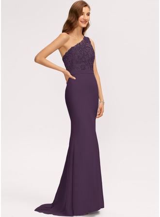 Trumpet/Mermaid One-Shoulder Sweep Train Chiffon Evening Dress