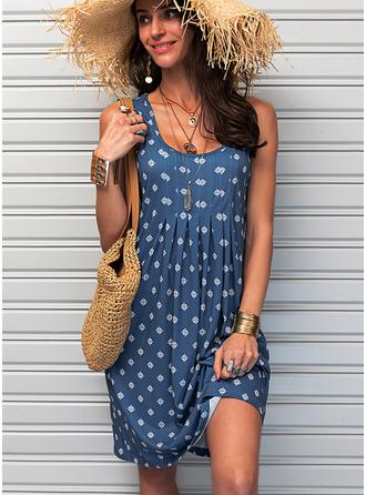 印刷 シフトドレス ノースリーブ ミディ カジュアル タンク ファッションドレス