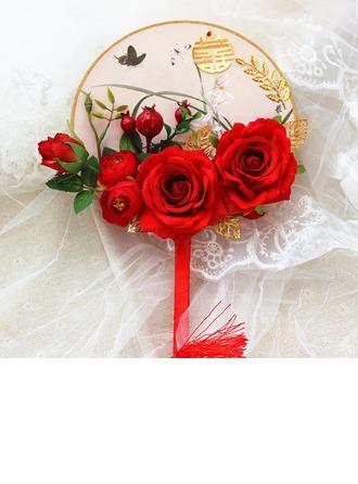 Silk Flower Wedding Fans