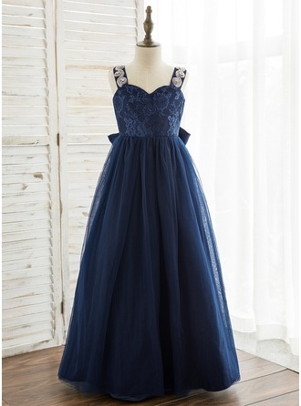 A-Line/Princess Floor-length Flower Girl Dress - Tulle/Lace Sleeveless Straps With Rhinestone