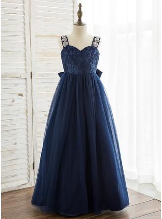 Vestidos princesa/ Formato A Longos Vestidos de Menina das Flores - Tule/Renda Sem magas alças de ombro com Strass