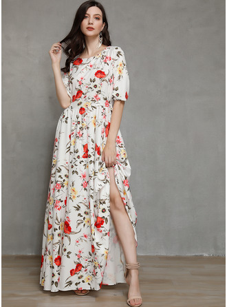 Maxi Round Neck Polyester Print 3/4 Sleeves Fashion Dresses