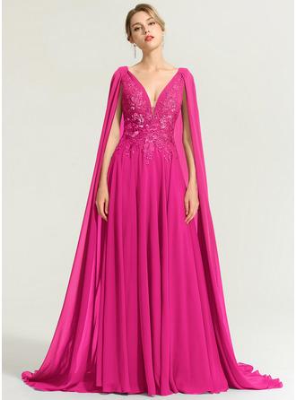 A-Line V-neck Floor-Length Chiffon Evening Dress With Sequins