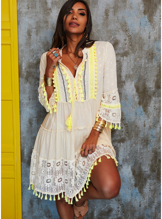 Lace Shift 3/4 Sleeves Flare Sleeve Midi Casual Vacation Tunic Dresses