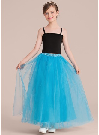 A-Line/Princess Square Neckline Ankle-Length Tulle Junior Bridesmaid Dress