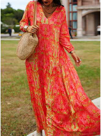 Print Shift 1/2 Sleeves Maxi Boho Casual Vacation Dresses