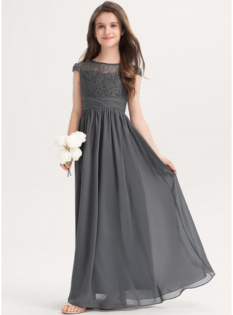 A-Line Scoop Neck Floor-Length Chiffon Lace Junior Bridesmaid Dress With Ruffle