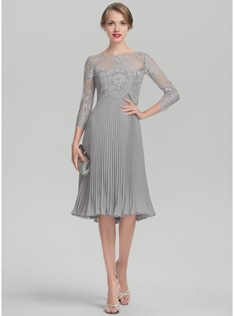 A-Linie/Princess-Linie Schatz Knielang Chiffon Kleid für die Brautmutter mit Gefaltet