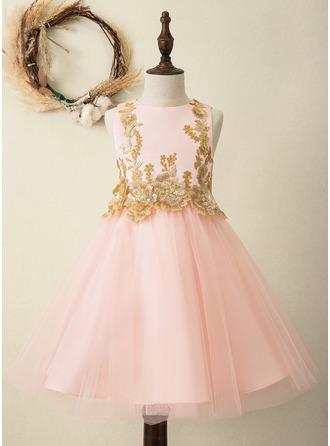 A-Line Knee-length Flower Girl Dress - Satin/Tulle Sleeveless Scoop Neck With Sequins