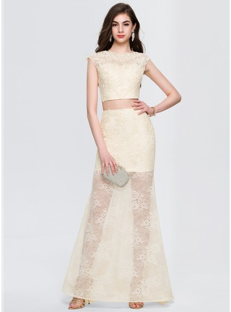 A-Line/Princess Scoop Neck Sweep Train Lace Prom Dresses