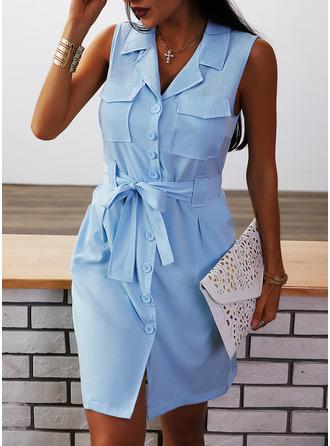 Solid Fodral Ärmlös Mini Fritids Elegant Skjortklänningar Modeklänningar