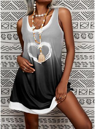 Print Heart Gradient Shift Sleeveless Midi Casual Tank Dresses
