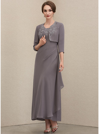 A-Line Square Neckline Ankle-Length Chiffon Mother of the Bride Dress With Lace Sequins Cascading Ruffles