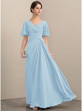 Трапеция V-образный Длина до пола шифон Платье Для Матери Невесты с Рябь
