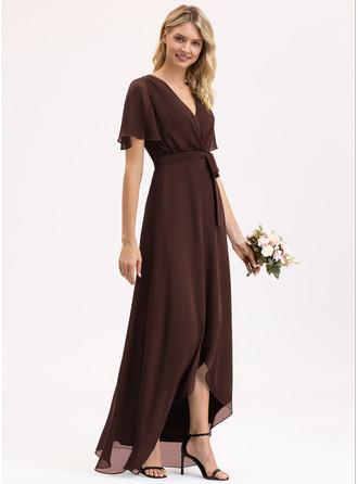 A-Line V-neck Asymmetrical Chiffon Bridesmaid Dress With Bow(s)