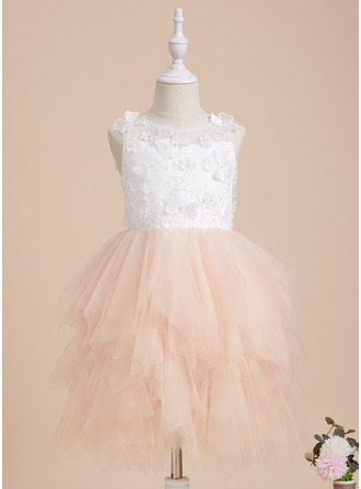 Ball-Gown/Princess Scoop Neck Knee-length With Beading/Flower(s) Tulle/Lace Flower Girl Dress