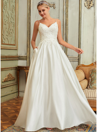Ball-Gown/Princess V-neck Sweep Train Satin Lace Wedding Dress With Lace Beading Sequins