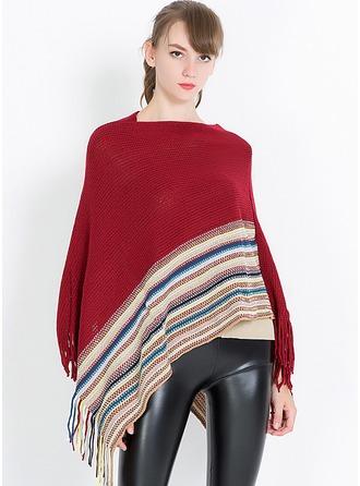 Pruhované nadměrné velikosti/móda/jednoduchý Charmeuse Ponča ()