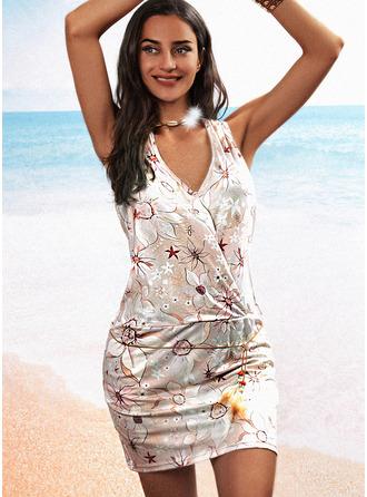 Kwiatowy Nadruk Bodycon Bez Rękawów Mini Nieformalny Modne Suknie