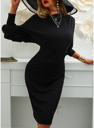 Solid Bodycon Lantern Sleeve Long Sleeves Midi Little Black Elegant Pencil Dresses