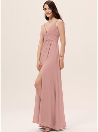 A-Line Sweetheart Floor-Length Chiffon Bridesmaid Dress