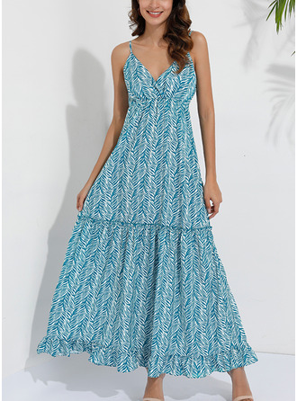 Print A-line Sleeveless Maxi Casual Vacation Skater Dresses