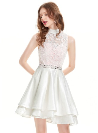 A-Line/Princess High Neck Asymmetrical Taffeta Homecoming Dress With Beading Sequins