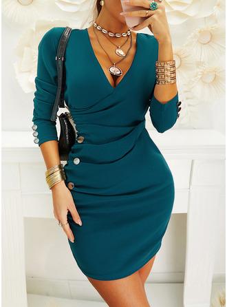 Einfarbig Figurbetont Lange Ärmel Mini Elegant Modekleider