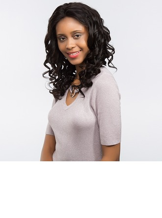 4A Non remy Water Wave Human Hair Full Lace Cap Wigs 150g