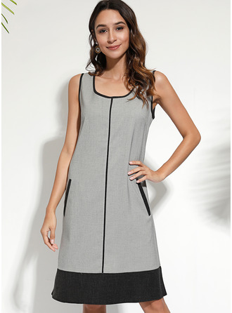 Color Block Shift Sleeveless Midi Casual Tank Dresses