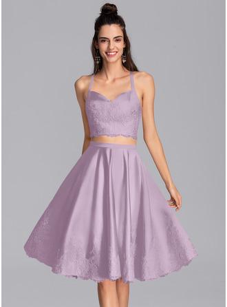 A-Line Sweetheart Knee-Length Satin Homecoming Dress