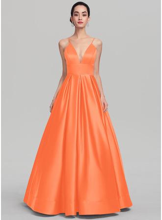 Ball-Gown V-neck Floor-Length Satin Evening Dress