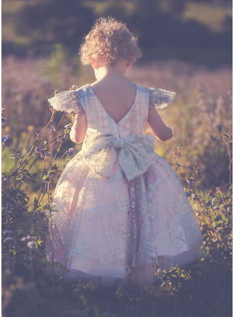 Forme Princesse Longueur genou Robes à Fleurs pour Filles - Tulle Manches courtes Col rond