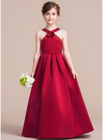 A-Line/Princess Scoop Neck Floor-Length Satin Junior Bridesmaid Dress With Bow(s)