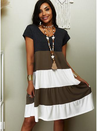 Color Block Shiftklänningar Korta ärmar Midi Fritids t-shirt Modeklänningar