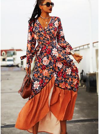 Floral Print A-line Long Sleeves Asymmetrical Casual Skater Dresses