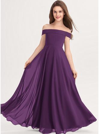 A-Line Off-the-Shoulder Floor-Length Chiffon Junior Bridesmaid Dress